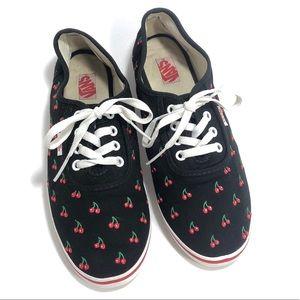 Vans Black Cherry Print Skater Sneakers Size 9
